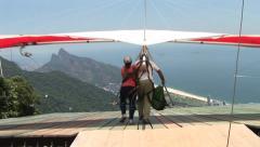 Rio de Janeiro: Hang Glider Take-Off (2) Stock Footage