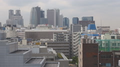 Aerial view town architecture downtown design Tokyo asian city skyscraper build Stock Footage