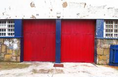 Two garages with roller shutters Stock Photos