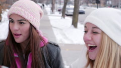 Friends Sing And Dance To Song On Smartphone On Sidewalk Stock Footage