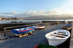 Boats in Puerto Viejo. Basque Country, Getxo, Spain. - stock photo