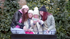 Friends Pose In Santa's Sleigh At The Mall, They Take Photos With A Smartphone - stock footage