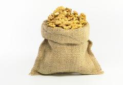Walnut in Gunny Bag Stock Photos