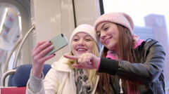 Multi-Ethnic Teens Take A Photo Together On A Train Stock Footage