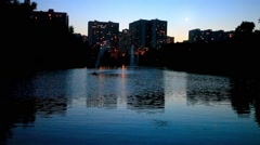 Night view of a city with reflection in water. Moscow. HD. 1920x1080 Stock Footage