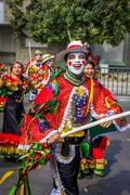 Performers with colorful and elaborate costumes participate in Colombia's most Stock Photos