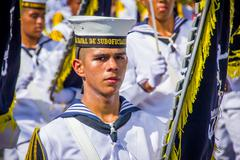 Naval academy students participate in Colombia's most important folklore - stock photo
