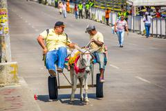Street vendors in Colombia's most important folklore celebration, the Carnival - stock photo