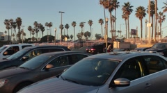 Busy Beach Parking Lot Stock Footage