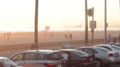 Beach View from the Parking Lot Stock Footage