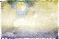 Vintage cloudy sky with full moon - stock illustration