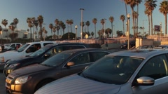 Busy California Huntington Beach Parking Lot Stock Footage