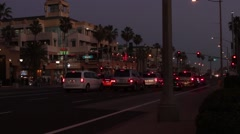 Huntington Beach PCH Traffic Night 3 Stock Footage
