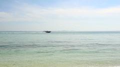 speedy motor boat sail in azure sea - stock footage
