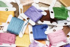 Strand Embroidery floss cards - stock photo