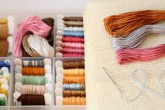 Preparations for embroidery (Cross-Stitch) - stock photo