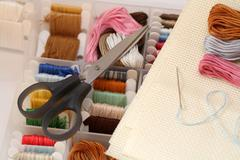 Preparations for embroidery (Cross-Stitch) Stock Photos