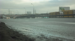 Cars on the ring road. overcast Stock Footage
