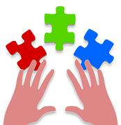 3 piece jigsaw Stock Illustration