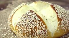 Sesame Pretzel Roll (not loopable) - stock footage