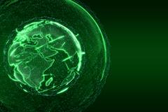 World News Earth Globe glow shine lines transparent green - stock illustration