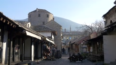 Street in old part of Mostar Stock Footage