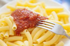 Organic Corn Pasta with tomato sause (Gluten Free Product) - stock photo