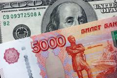 Five thousand rubles and one hundred dollars Stock Photos