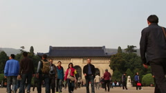 Tourists in Dr. Sun Yat-sen's Mausoleum Stock Footage