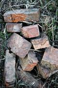 Old bricks heap on a grass - stock photo