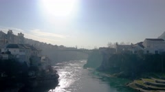 Panoramic view from the old bridge in Mostar Stock Footage