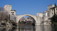 View on old bridge Mostar from bottom 4K - stock footage