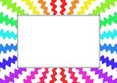 Zig Zag Rainbow Frame - stock illustration