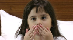 Close up of little girl sending kisses Stock Footage