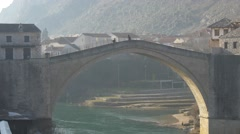 Close up of the old bridge in Mostar 4K Stock Footage