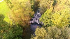 A river in summer, austria alps, fresh water, gren, trees, holidays with family Stock Footage