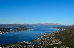 Tromsoe city island and tromsdalen in summer landscape photo Stock Photos