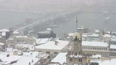 View from Galata Tower on a snowy winter day Stock Footage