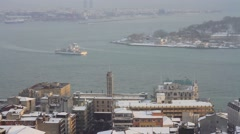 Winter view to Bosphorus, Istanbul Stock Footage