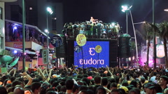 Crowd Partying on the Street During Carnaval in Salvador, Bahia, Brazil Stock Footage