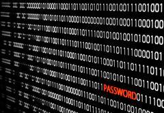 binary code with password theft - stock photo