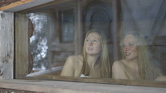 Young women relaxing in sauna Stock Footage