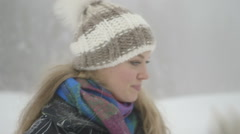 Young woman enjoying in winter Stock Footage