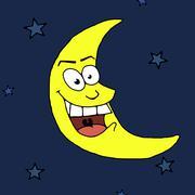 Cartoon Moon - stock illustration