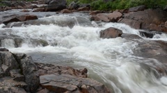 Fast flowing salmon river in the arctic wilderness in summer Stock Footage