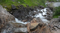 Fresh clean mountain water flow in summer Stock Footage