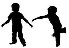 Toddler boys playing - stock illustration