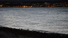Tromsoe city island and fjord at dawn Stock Footage