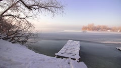 Snow-covered view of the river Stock Footage