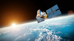 Space satellite over the planet earth - stock footage